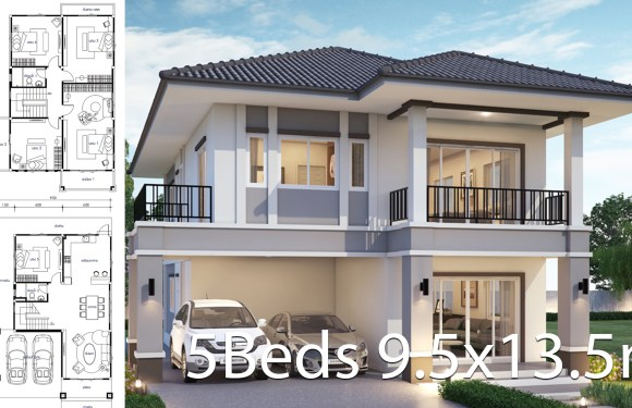 House design 9.5×13.5m with 5 bedrooms