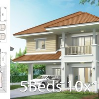 House design plan 10x10.5m with 5 bedrooms