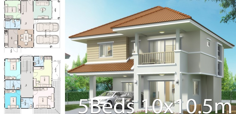 House design plan 10×10.5m with 5 bedrooms