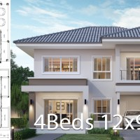 House design plan 12x9.5m with 4 bedrooms