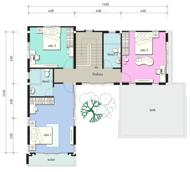 House design plan 13.5x10.5m with 4 bedrooms
