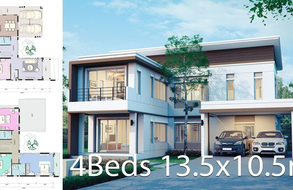 House design plan 13.5×10.5m with 4 bedrooms