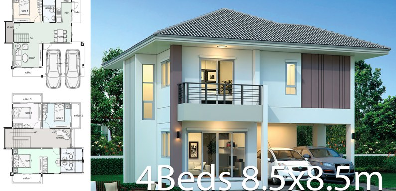 House design plan 8.5×8.5m with 4 bedrooms