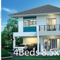 House design plan 8.5x9.5m with 4 bedrooms
