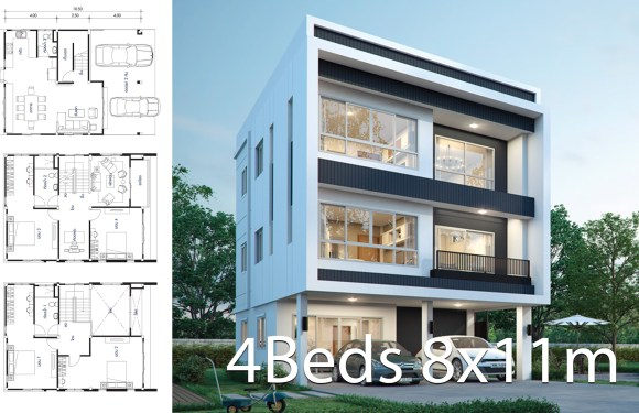 House design plan 8x11m with 4 bedrooms