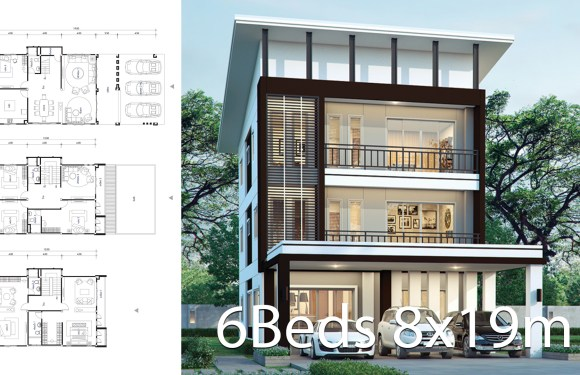 House design plan 8x19m with 6 bedrooms