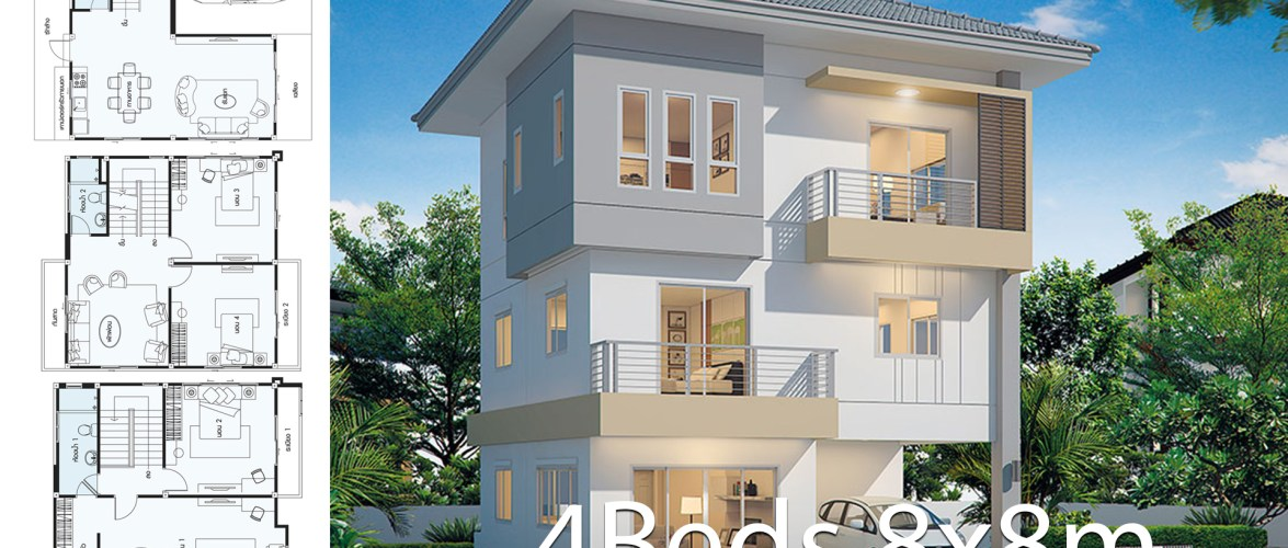 House design plan 8x8m with 4 bedrooms