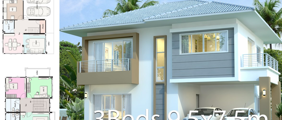 House design plan 9.5×7.5m with 3 bedrooms