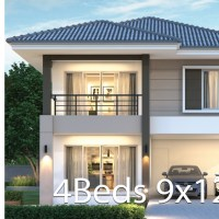 House design plan 9x12.5m with 4 bedrooms