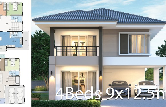 House design plan 9×12.5m with 4 bedrooms