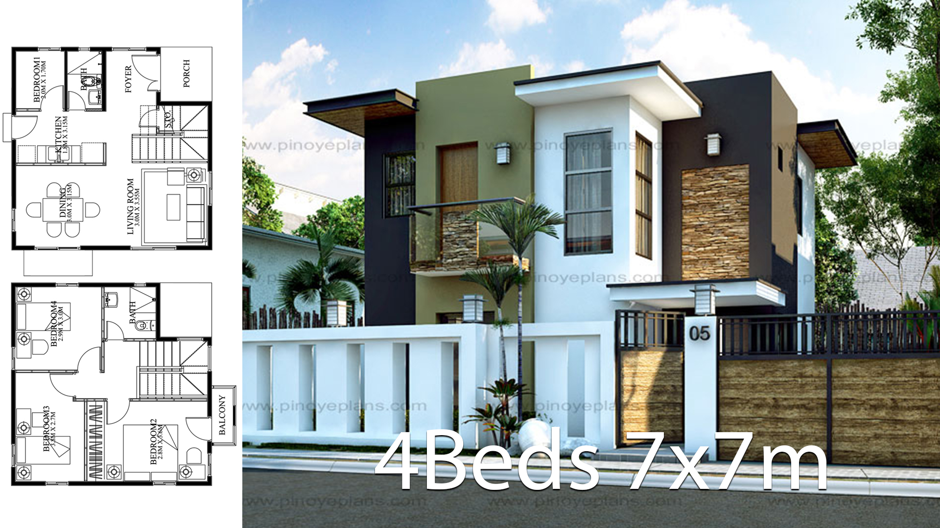 Modern Home design 7x7m with 4 bedrooms - Home Ideas