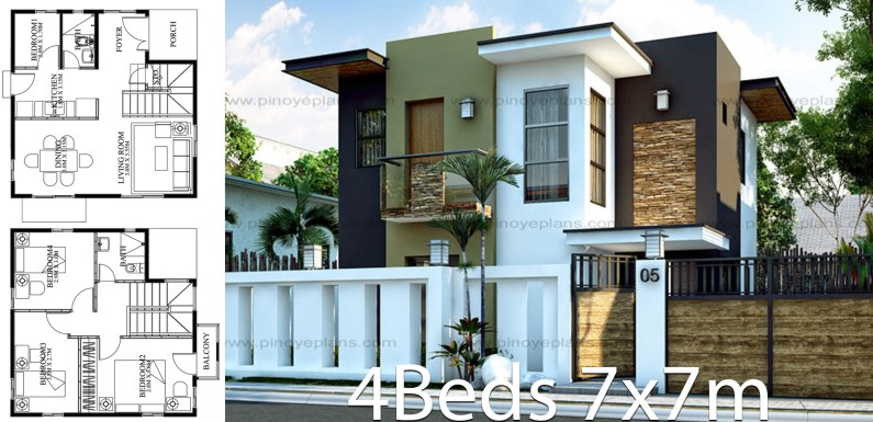 Modern Home design 7x7m with 4 bedrooms