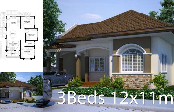Small house design plan 11x12m with 3 bedrooms