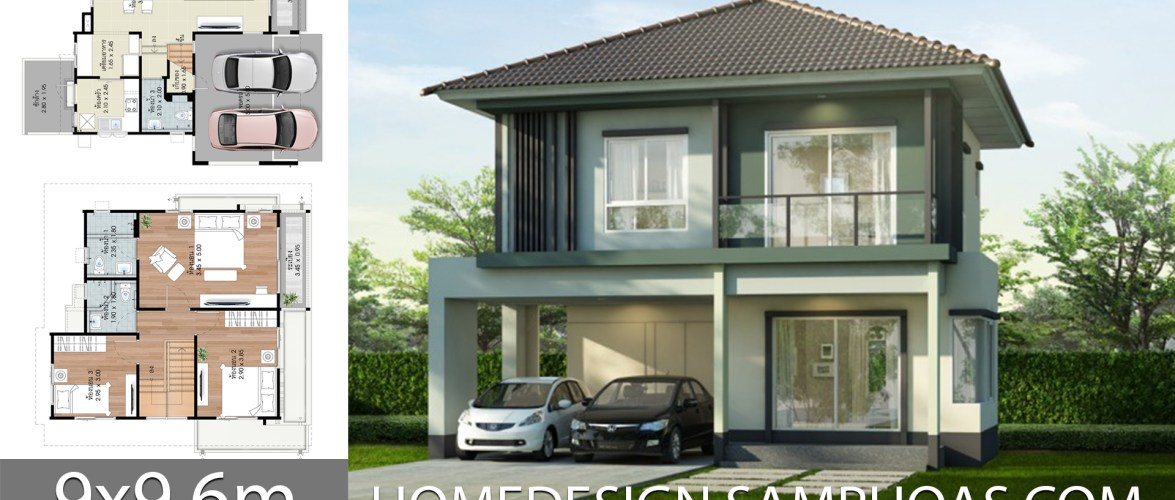 House design Plans 9×9.6m with 3 bedrooms