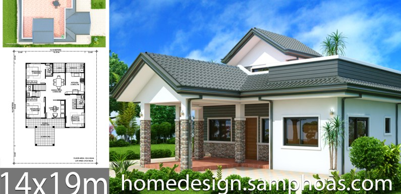 House design plans 14x19m with 3 bedrooms