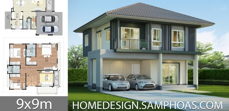 House design plans 9x9m with 3 bedrooms