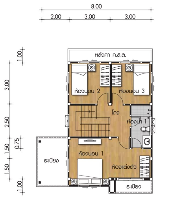 House Plans 8x8 5m With 3 Bedrooms Home Ideas