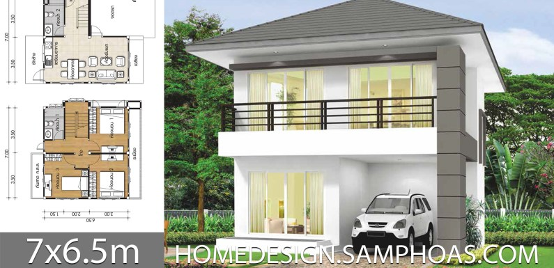 Small Home Plans 7×6.5m with 3 bedrooms