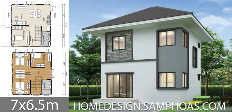 Small Home Plans 7×6.5m with 4 bedrooms