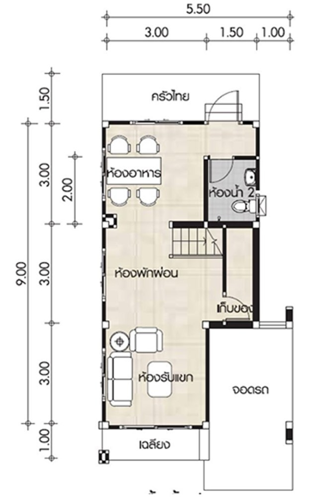 Small House design plans 5.5x11.5m with 2 bedrooms - Home ...