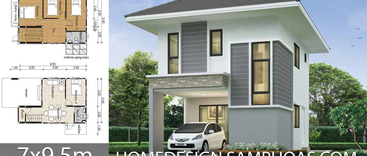 Small House design plans 7×9.5m with 4 bedrooms