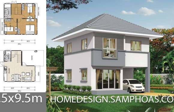 Small House plans 7x7m with 3 bedrooms