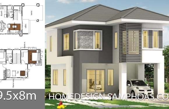 Home design idea 9.5x8m with 2 bedrooms