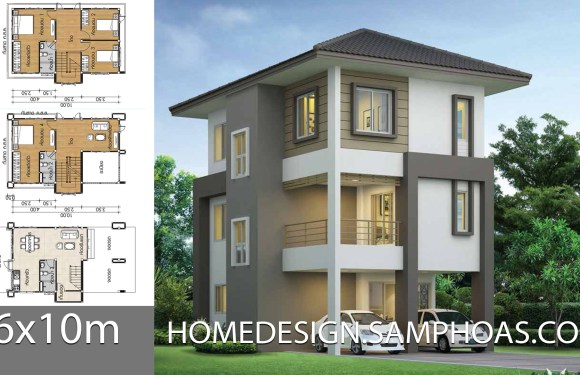 Home design plans 6x10m with 4 bedrooms