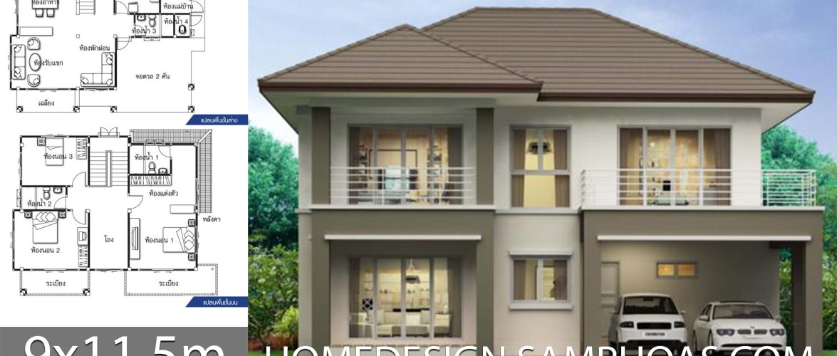 House design ideas 9×11.5m with 3 bedrooms