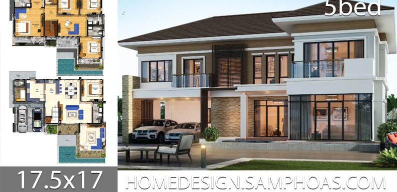 House Plans idea 17.5×17 with 5 bedrooms
