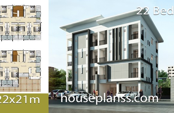 Apartment design Plans 22×21 with 22 bedrooms