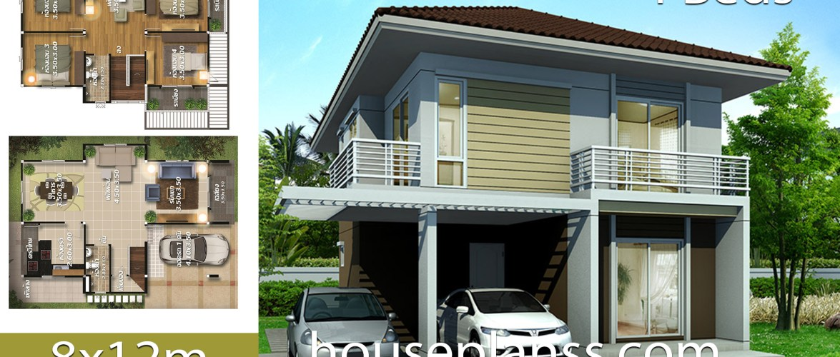 House design Plans 8×12 with 4 bedrooms
