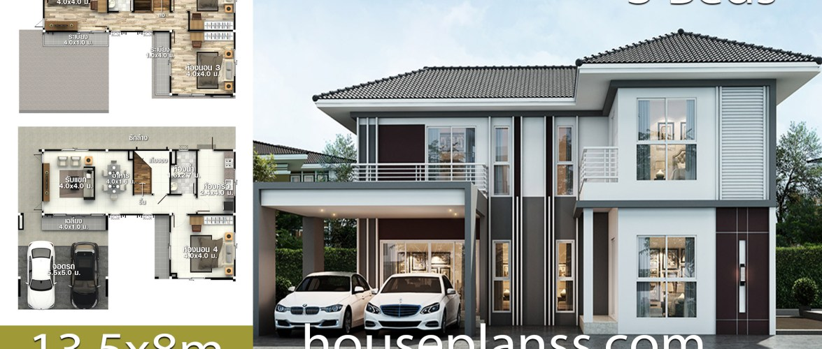 House Plans Design Idea 13.5×8 with 3 bedrooms