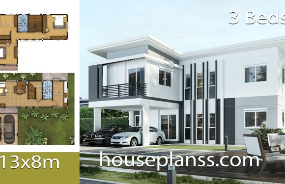 House Design Plans Idea 13×8 with 3 bedrooms