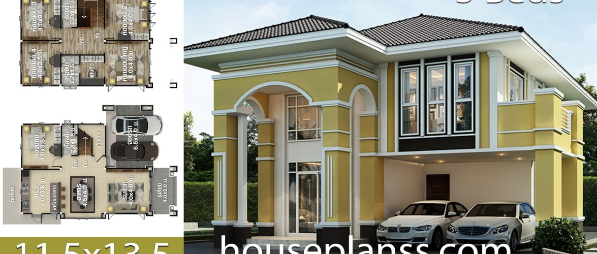 House design Plans Idea 11.5×13.5 with 5 bedrooms