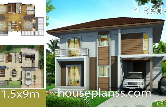 House design Plans Idea 11.5×9 with 4 bedrooms