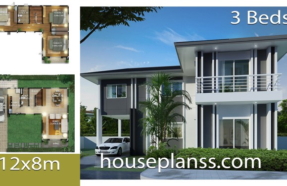 House design Plans Idea 12.x8 with 3 bedrooms