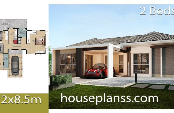 House design Plans Idea 12×8.5 with 2 bedrooms