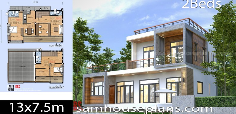 House Plans Idea 13×7.5m with 2 Bedrooms