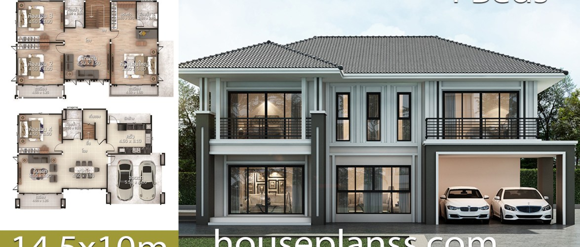 House Plans Idea 14.5×10 with 4 bedrooms