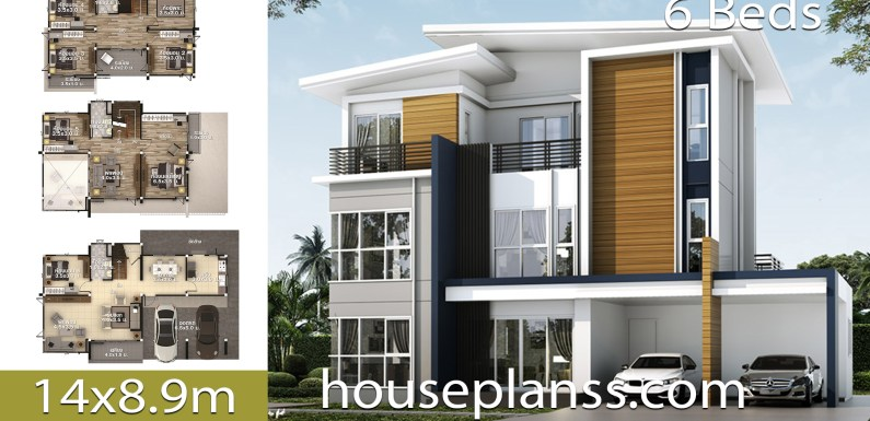 House design Plans 14×8.9 with 6 bedrooms