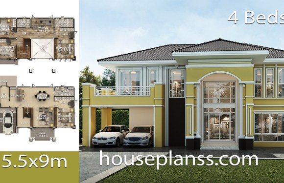 House design Plans 15.5×9 with 4 bedrooms