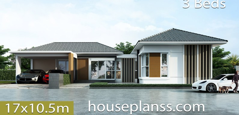 House design Plans 17×10.5 with 3 bedrooms