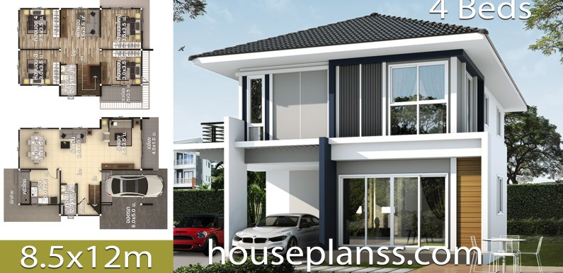 House Design Plans Idea 8.5×12 with 4 Bedrooms