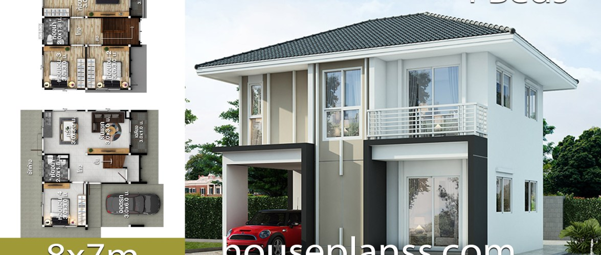 House design Plans Idea 8×7 with 4 Bedrooms
