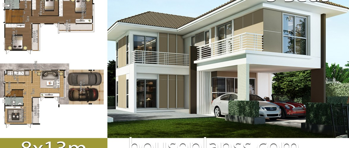 House design Plans idea 8×13 with 3 bedrooms