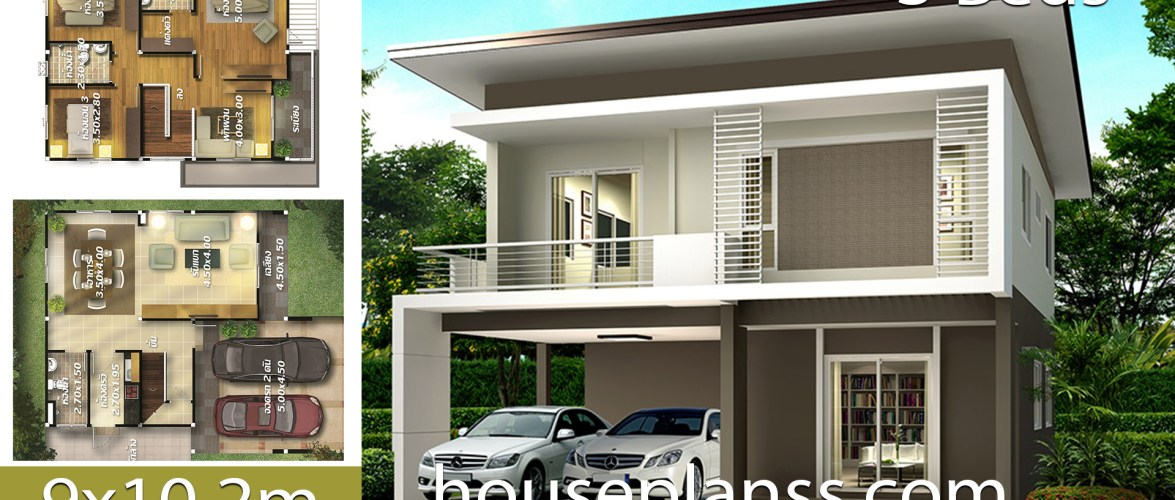 House design plans Idea 9×10.2 with 3 bedrooms