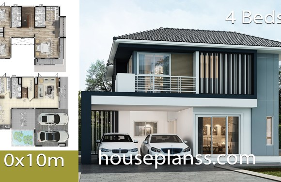 House design plans idea 10×10 with 4 bedrooms