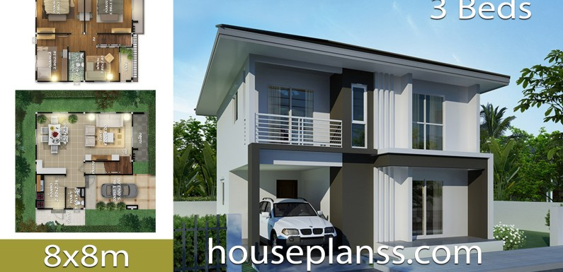 House design plans idea 8×8 with 3 Bedrooms