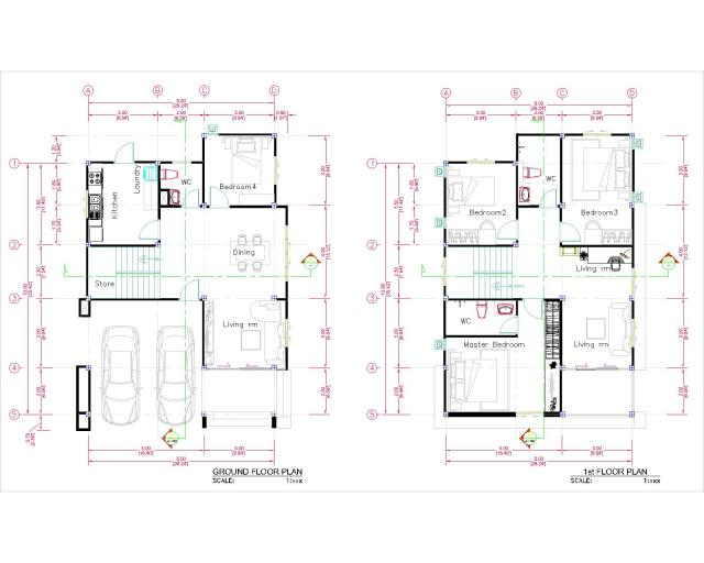 27x40 Feet House Plans 8x10 Meters 4 Bedrooms floor plan